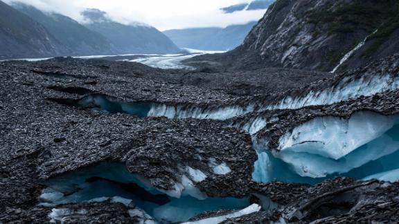 A series of crevasses split Valdez glacier into many strange shapes and formations.