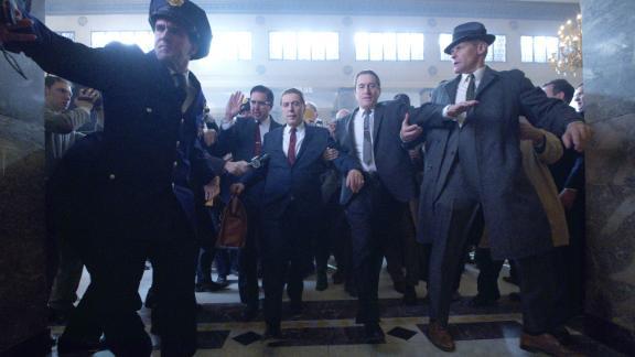 THE IRISHMAN (2019)Ray Ramano (Bill Bufalino ) Al Pacino (Jimmy Hoffa) and Robert De Niro (Frank Sheeran)
