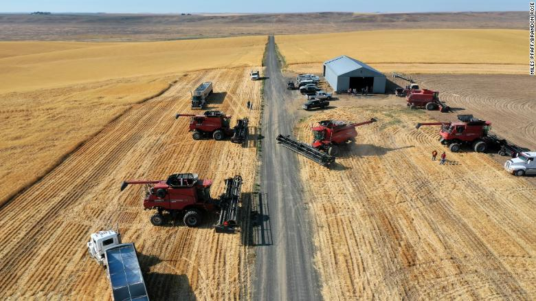 A community of farmers harvests the wheat on Larry Yockey's farm.