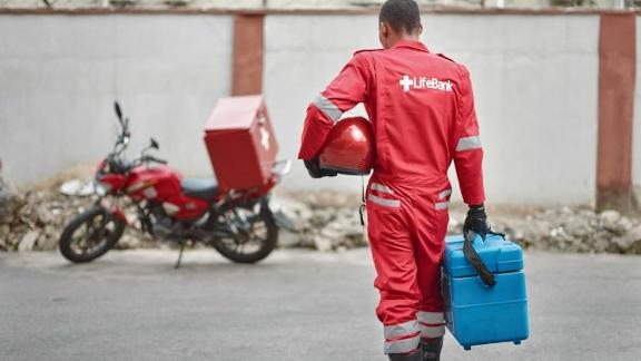 Joseph Kalu, motorbike dispatcher for Lifebank is preparing for one of his deliveries