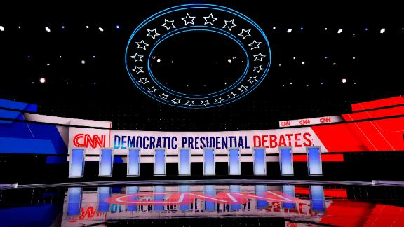 Workers prepare the debate stage at the Fox Theater in Detroit, Michigan, on July 30, 2019, ahead of the 2nd Democratic Presidential Debate. - Leading liberals in the 2020 presidential race will command the spotlight in Tuesday