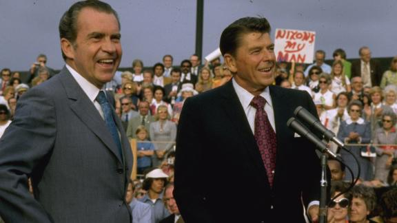Politicians Ronald Reagan (R) and Richard Nixon campaigning.  (Photo by Dirck Halstead/The LIFE Images Collection via Getty Images/Getty Images)