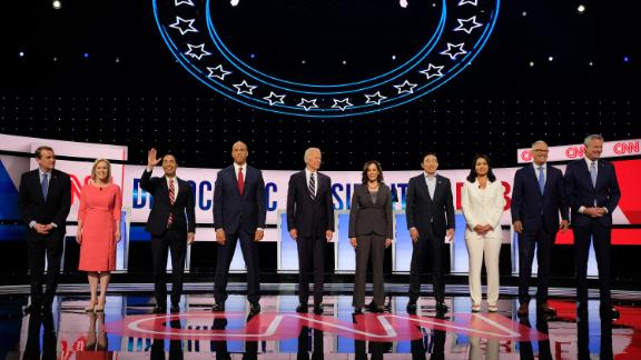 Presidential candidates participate in the CNN Democratic debate in Detroit on July 31.