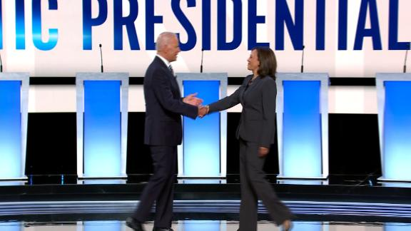 Presidential candidates Joe Biden and Kamala Harris at the Democratic presidential debate hosted by CNN at the Fox Theater in Detroit on Wednesday, July 31.