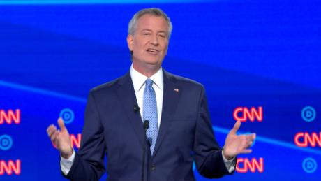 Presidential candidate Bill de Blasio at the Democratic presidential debate hosted by CNN at the Fox Theater in Detroit on Wednesday, July 31.