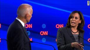 Presidential candidates Joe Biden and Kamala Harris participate in the CNN Democratic debate in Detroit on Wednesday, July 31.