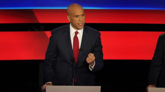 Presidential candidate Cory Booker participates in the CNN Democratic debate in Detroit on Wednesday, July 31.