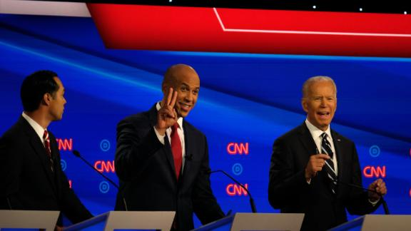 Presidential candidates Julián Castro, Cory Booker and Joe Biden participate in the CNN Democratic debate in Detroit on Wednesday, July 31.