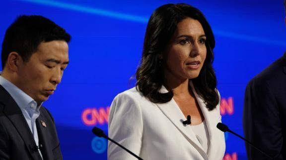 Gabbard participates in CNN's Democratic debates in July 2019.