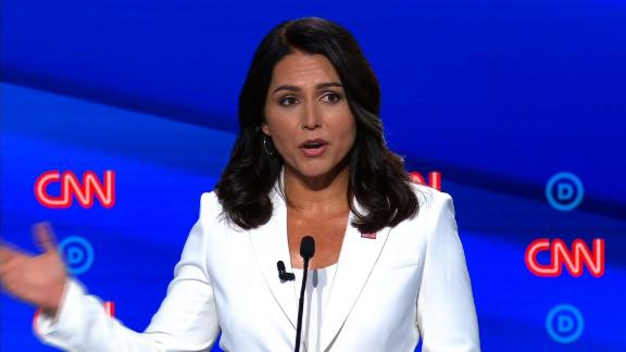Presidential candidate Tulsi Gabbard participates in the CNN Democratic debate in Detroit on Wednesday, July 31.