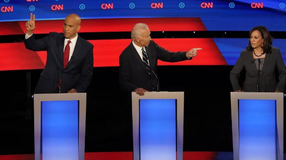 Presidential candidates Cory Booker, Joe Biden and Kamala Harris participate in the CNN Democratic debate in Detroit on Wednesday, July 31.