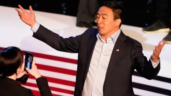 Presidential candidate Andrew Yang poses for a picture after the CNN Democratic debate in Detroit on Wednesday, July 31.