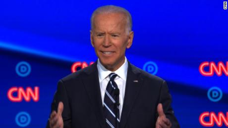 Presidential candidate Joe Biden participated in the CNN Democratic debate in Detroit on July 31.
