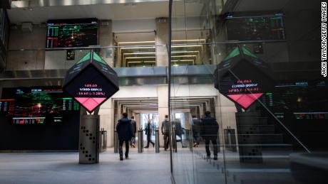 LONDON, ENGLAND - DECEMBER 27: Share price information is displayed on screens at the London Stock Exchange offices after reopening following the Christmas holiday on December 27, 2018 in London, England. The FTSE 100 hit a fresh two-year low today despite stock markets around the world recording significant gains by the end of Wednesday.  (Photo by Jack Taylor/Getty Images)