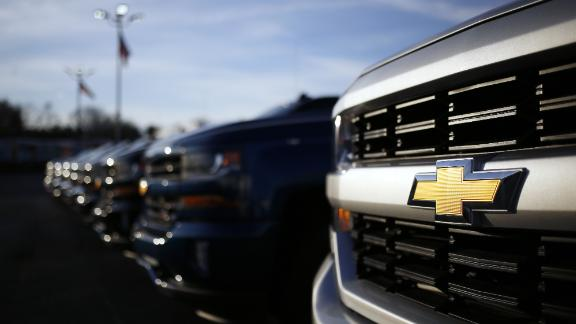 The General Motors Co. Chevrolet logo is seen on the front of a pickup truck at a car dealership in Louisville, Kentucky, U.S., on Wednesday, Jan. 31, 2018. General Motors Co. is scheduled to release earnings figures on February 6. Photographer: Luke Sharrett/Bloomberg via Getty Images