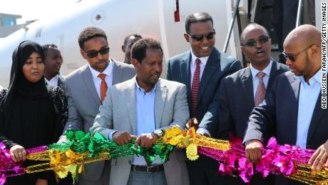Mogadishu Mayor Abdirahman Omar Osman, third from left, during a ceremony in 2018