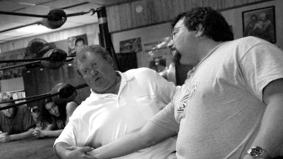 Harley Race demonstrates a move at his wrestling school in 2006.
