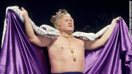 """The King"" Harley Race dons a robe and crown in the ring."