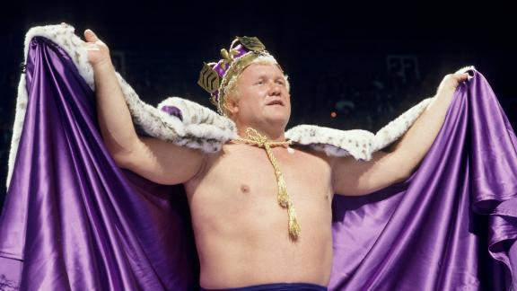 """""""The King"""" Harley Race dons a robe and crown in the ring."""