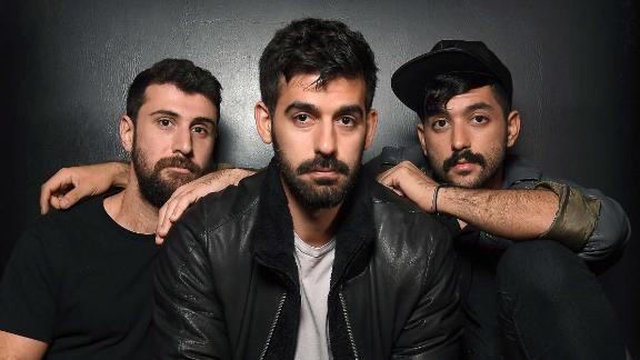 Musicians Haig Papazian, Carl Gerges and Hamed Sinno of Mashrou' Leila pose for a picture on November 1, 2017 in New York.