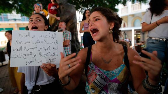 Demonstrators gather in support of Mashrou' Leila at Samir Kassir Square in downtown Beirut on July 29, 2019.