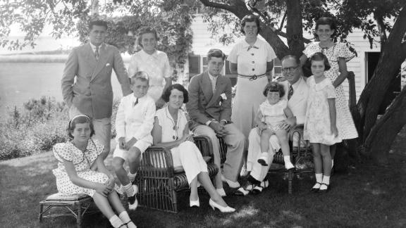 The Kennedy family poses for a portrait in the 1930s. Joseph Kennedy Sr. and his wife, Rose, had nine children. From left are Patricia, Joseph Jr., Robert, Kathleen, Rose, John, Rosemary, Edward, Joseph Sr., Jean and Eunice.