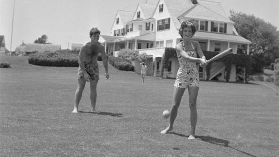 Edward, aka Ted, joins future first lady Jackie Bouvier for a game of baseball in 1953.