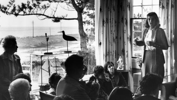 Eunice Kennedy Shriver addresses a group of women on behalf of her husband, Democratic presidential contender R. Sargent Shriver, in 1976.