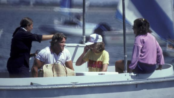 Eunice is joined by her daughter Maria, right, and Maria's husband, actor Arnold Schwarzenegger, at the Kennedy compound in 1981.