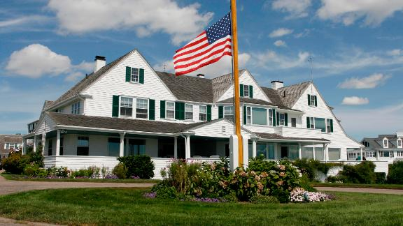 The flag at the compound flies at half-staff after the death of Ted Kennedy in 2009.