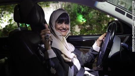 Munirah al-Sinani, a 72-year-old Saudi woman, drives her car in the eastern Saudi Arabian city of Dhahran on June 11, 2019.