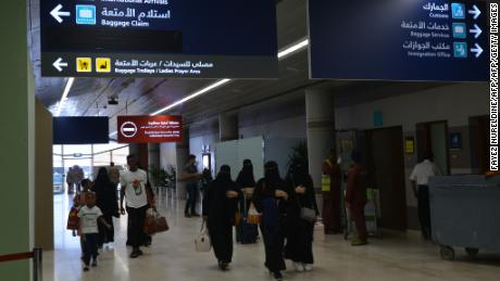 Saudi Arabian women arriving at  Abha Airport on June 13, 2019.