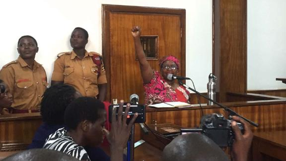 Nyanzi leads a chant at Buganda Road Court on Thursday.