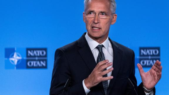 """NATO Secretary General Jens Stoltenberg gestures as he delivers a speech during a press conference about the end of the Intermediate-Range Nuclear Forces (INF) treaty at the North Atlantic Treaty Organization (NATO) headquarters, in Brussels, on August 2, 2019. - NATO will aim to avoid a """"new arms race"""" with Russia and not deploy nuclear missiles on European soil, alliance chief Jens Stoltenberg said, blaming Moscow for a Cold War pact's demise on August 2, 2019. The 29-country NATO rallied behind Washington after the United States and Russia ripped up the 1987 Intermediate-Range Nuclear Forces (INF) treaty. (Photo by Kenzo TRIBOUILLARD / AFP)        (Photo credit should read KENZO TRIBOUILLARD/AFP/Getty Images)"""
