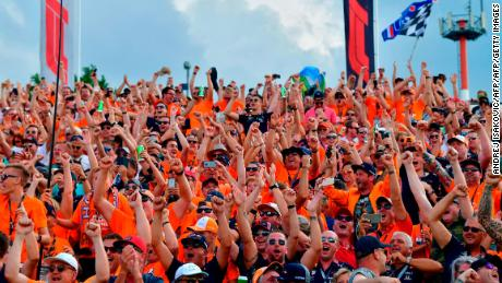 Dutch fans again traveled in thousands to cheer Verstappen to his first-ever pole.