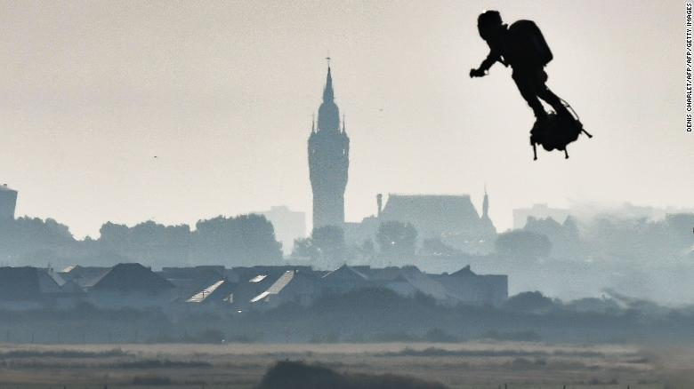 Franky Zapata flies past the Calais city hall on Sunday after starting his Channel crossing attempt.