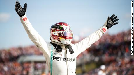 BUDAPEST, HUNGARY - AUGUST 04: Race winner Lewis Hamilton of Great Britain and Mercedes GP celebrates in parc ferme  during the F1 Grand Prix of Hungary at Hungaroring on August 04, 2019 in Budapest, Hungary. (Photo by Lars Baron/Getty Images)
