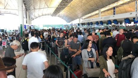 Business class check-in at Hong Kong airport as flights canceled due to citywide strikes on August 5, 2019.