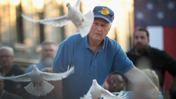 Doves are released during a memorial service recognizing the victims of the Dayton shooting.