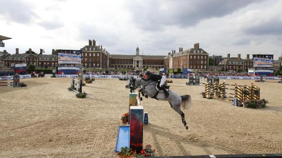 Shane Sweetnam goes airborne on Alejandro at the Royal Hospital Chelsea.