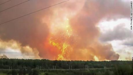 Explosions at an ammunition depot near the town of Achinsk in the Krasnoyarsk region on August 5, 2019.