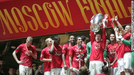 Wayne Rooney won the Champions League with Manchester United in 2008.
