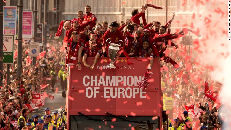 Liverpool celebrate winning the Champions League last season.