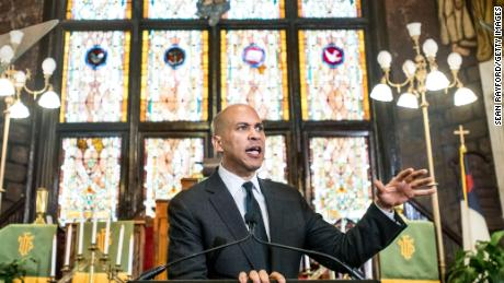 Democratic presidential candidate and U.S. Sen. Cory Booker (D-NJ) speaks to a crowd about gun violence and white nationalism at Emanuel AME Church August 7, 2019 in Charleston, South Carolina.