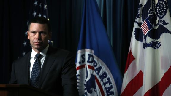 In this June 28, 2019, file photo, acting Secretary of Homeland Security Kevin McAleenan conducts a news conference at the Immigration and Customs Enforcement  Headquarters in Washington.