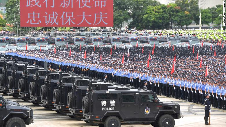 Chinese paramilitary police officers taking part in a drill in Shenzhen in China's southern Guangdong province on August 6.