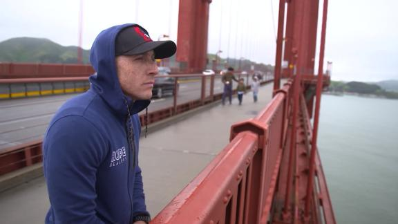 Kevin Hines looking out from the Golden Gate Bridge, where he tried to commit suicide in September 2000.