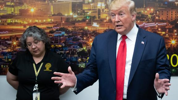 US President Donald Trump addresses the press during a visit to El Paso Regional Communications Center in El Paso, Texas, August 7, 2019, following last weekend