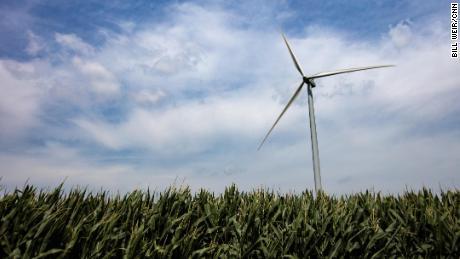 A windmill on an Iowa farm.