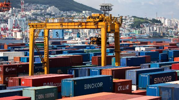 Shipping containers sit in the Busan Port Terminal (BPT) at the Port of Busan in Busan, South Korea, on Tuesday, July 30, 2019. A trade dispute between South Korea and Japan is threatening to spiral out of control, and both governments want the White House on their side. Photographer: SeongJoon Cho/Bloomberg via Getty Images